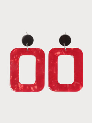 Boucles doreilles rectangle rouge femme