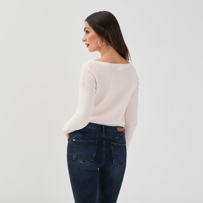 Pull col rond bateau rose clair femme