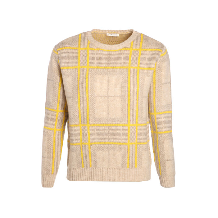 Pull manches longues col rond jaune femme
