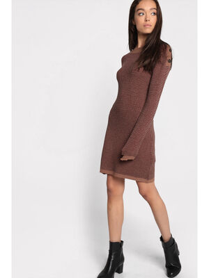 Robe pull col rond bateau marron femme