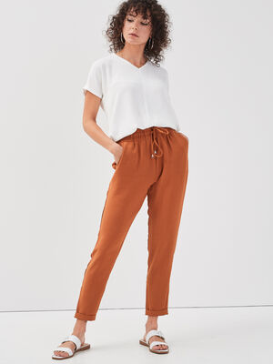 Pantalon city fluide orange fonce femme