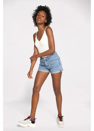 Short mom en jean denim double stone femme