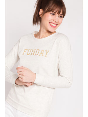 Sweat message scintillant beige femme