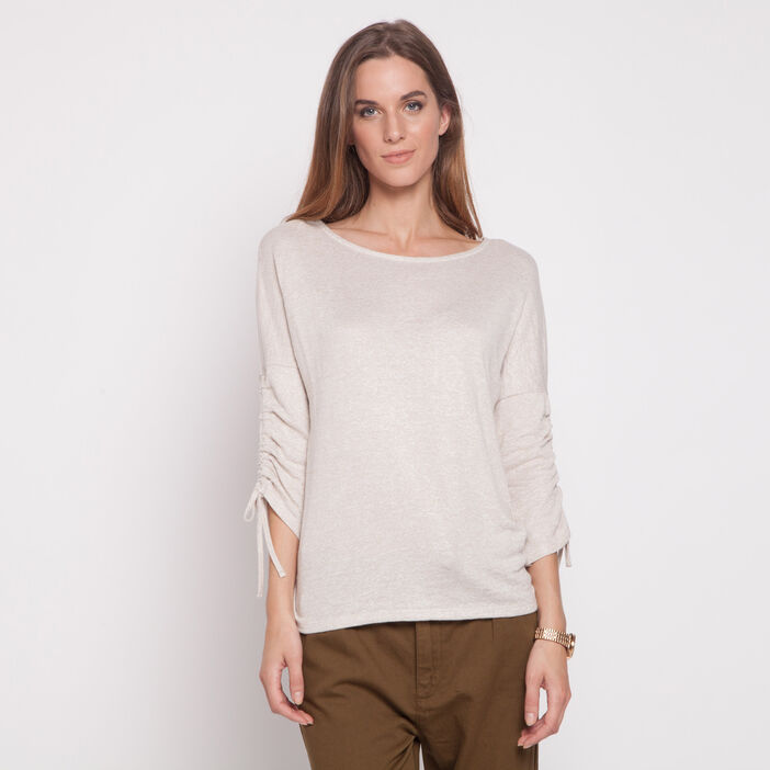 Pull fine maille manches froncées beige femme