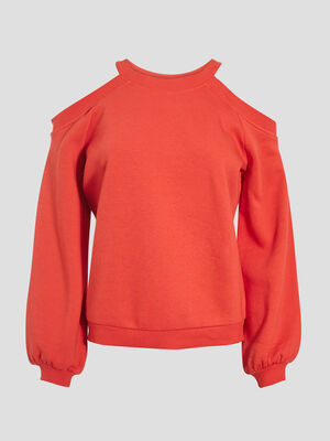 Sweat avec epaules denudees rouge fluo femme