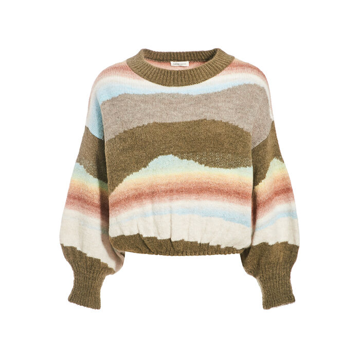 Pull manches amples multicolore femme