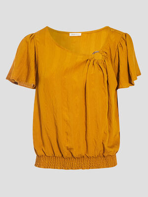 Blouse manches courtes smockee camel femme