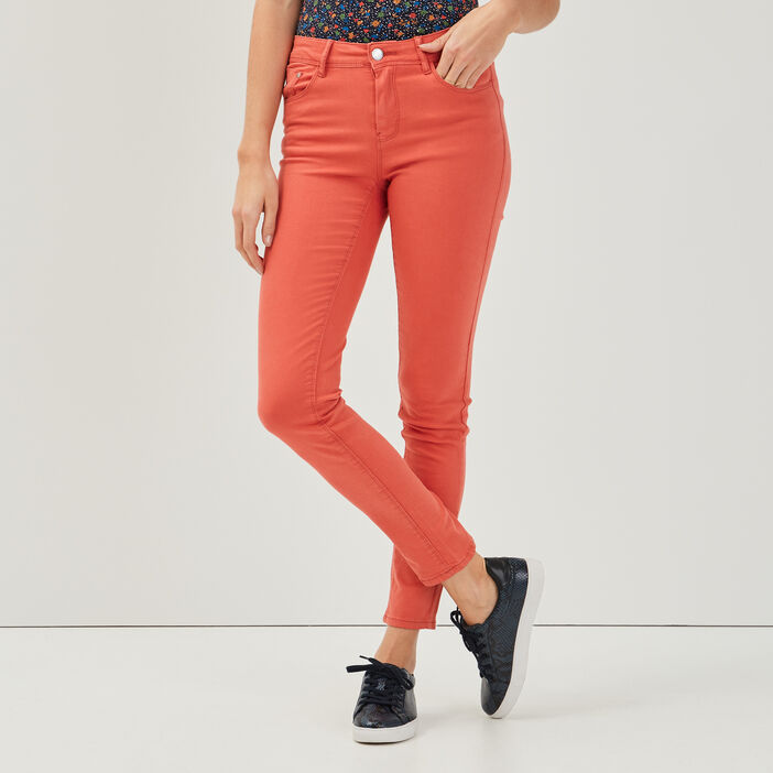 Jeans slim 5 poches rose corail femme