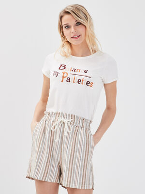 Short ample taille coulisse creme femme