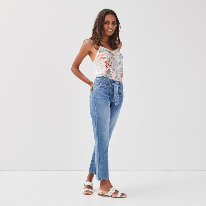 Jeans regular ceinturé denim double stone femme