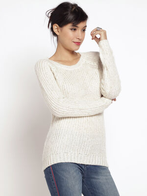 Pull maille col rond ecru femme