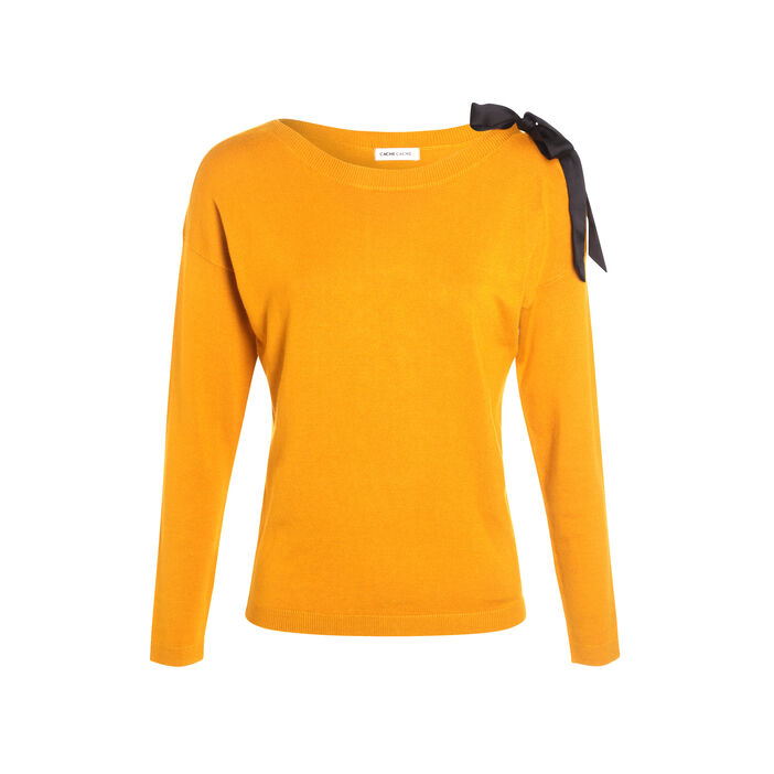 Pull manches longues noeud jaune moutarde femme