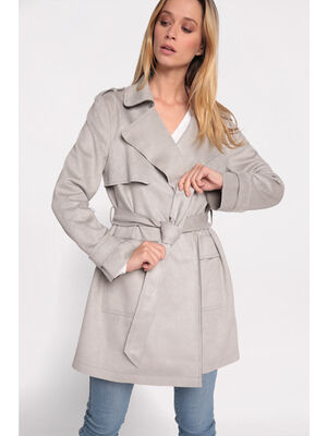Trench cintre suedine2 poches gris fonce femme