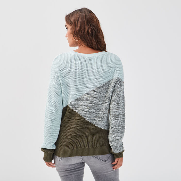 Pull col rond vert clair femme