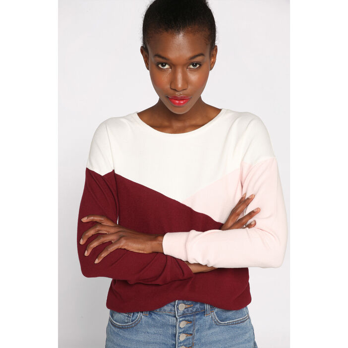 Sweat manches longues col rond rose clair femme