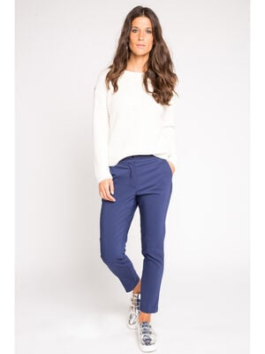 Pantalon city coupe cigarette bleu violet femme