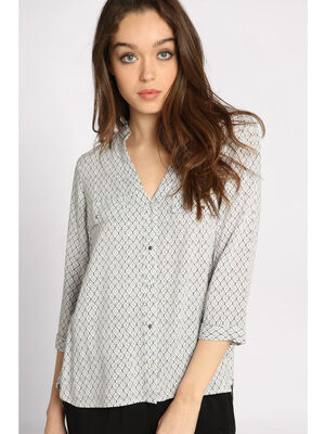 Chemise manches 34 boutonnee blanc femme