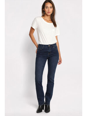 Jeans regular 5 poches denim brut femme