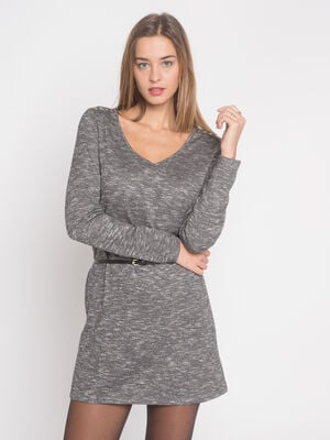 Robe maille chaussette gris fonce femme