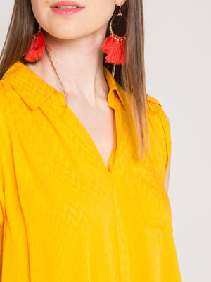 Blouse maille chevrons jaune or femme