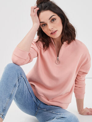 Sweat col montant zippe rose pastel femme