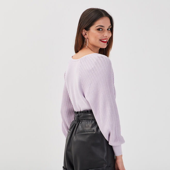 Pull manches bouffantes mauve femme
