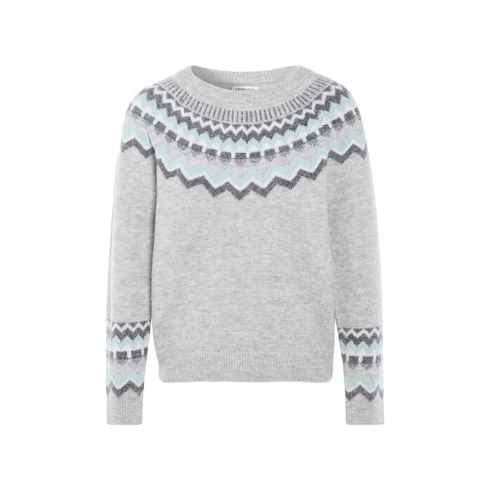 Pull col rond gris clair femme