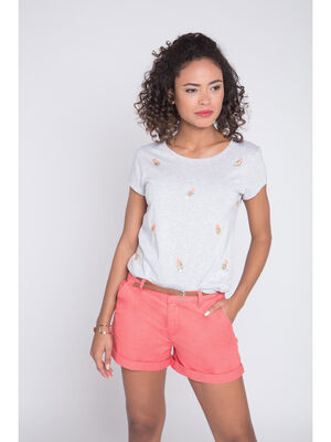 T shirt maille chinee ananas gris clair femme