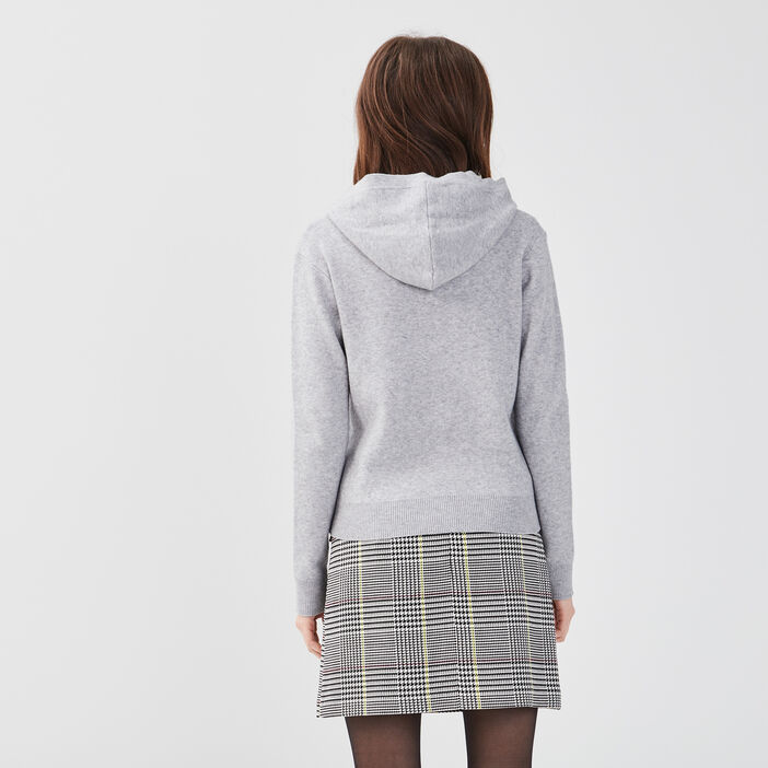 Pull col rond capuche gris clair femme
