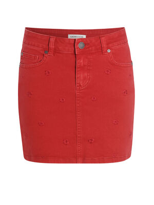 Jupe ajustee taille standard rouge femme