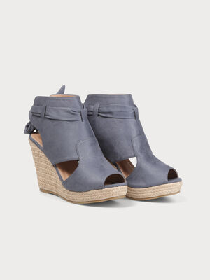 Sandales compensees avec noeud denim bleach femme