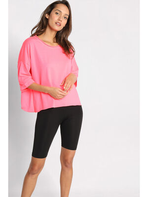 Sweat manches courtes col rond rose framboise femme
