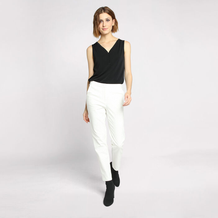 Pantalon city coupe cigarette blanc femme