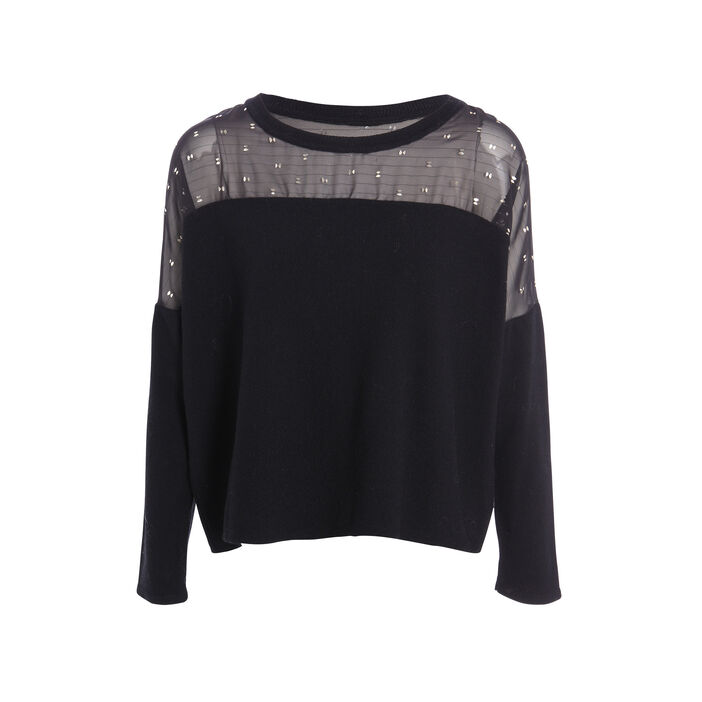 Pull ample col rond noir femme
