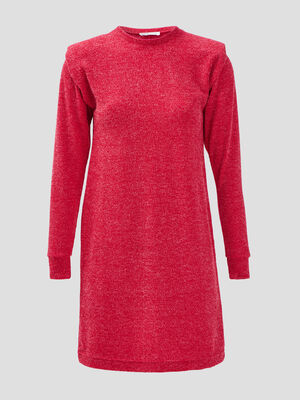 Robe pull droite rouge femme