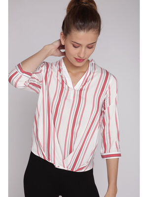 Blouse rayures multiples rouge clair femme