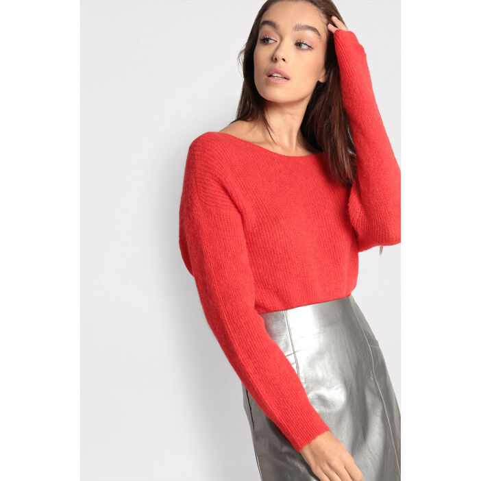Pull col rond bateau rouge fluo femme