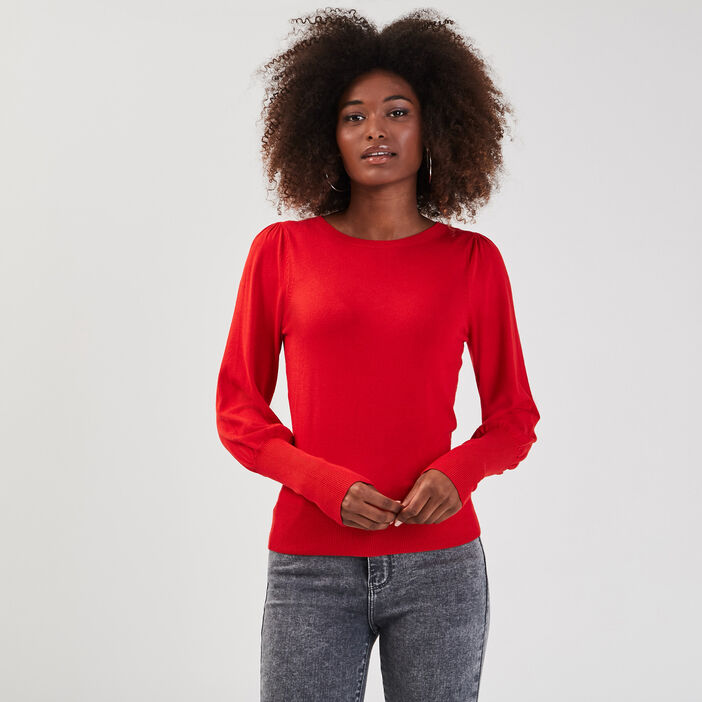 Pull manches longues bishop rouge fluo femme