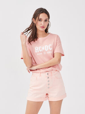 T shirt manches courtes ACDC rose pastel femme