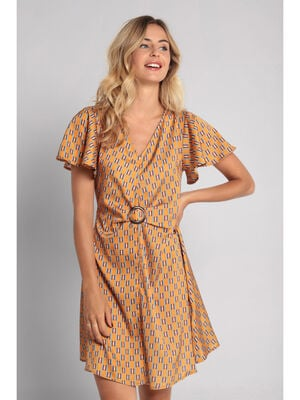 Robe droite cintree camel femme