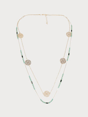 Collier 2 rangs perles et filigranes couleur or femme