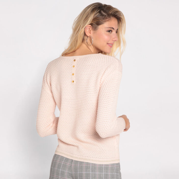Pull manches longues à boutons rose clair femme