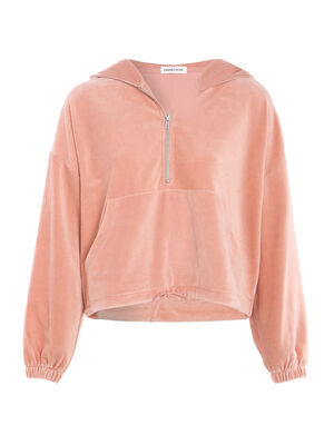 Sweat manches longues velours rose poudree femme