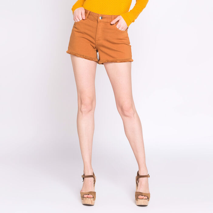 Short uni bords francs camel femme