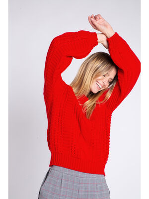 Pull a torsades manches ballon rouge femme