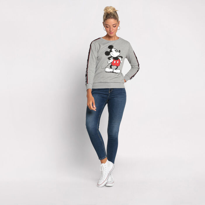 Sweat Mickey manches longues gris clair femme