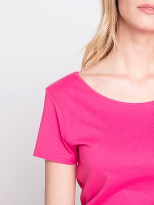 T shirt manches courtes col rond rose fushia femme