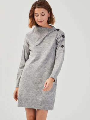 Robe ample tricot a boutons gris clair femme