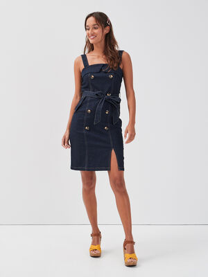Robe cintree bretelles larges denim brut femme