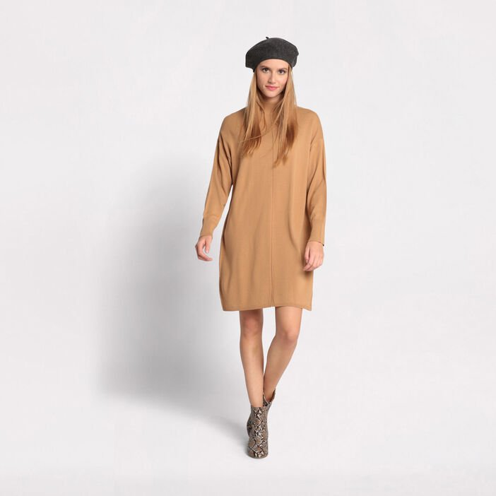 Robe pull col montant marron clair femme